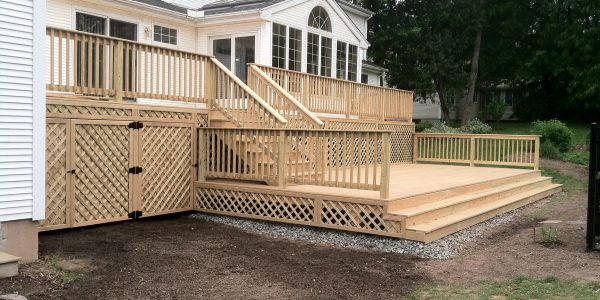 Two level deck with storage