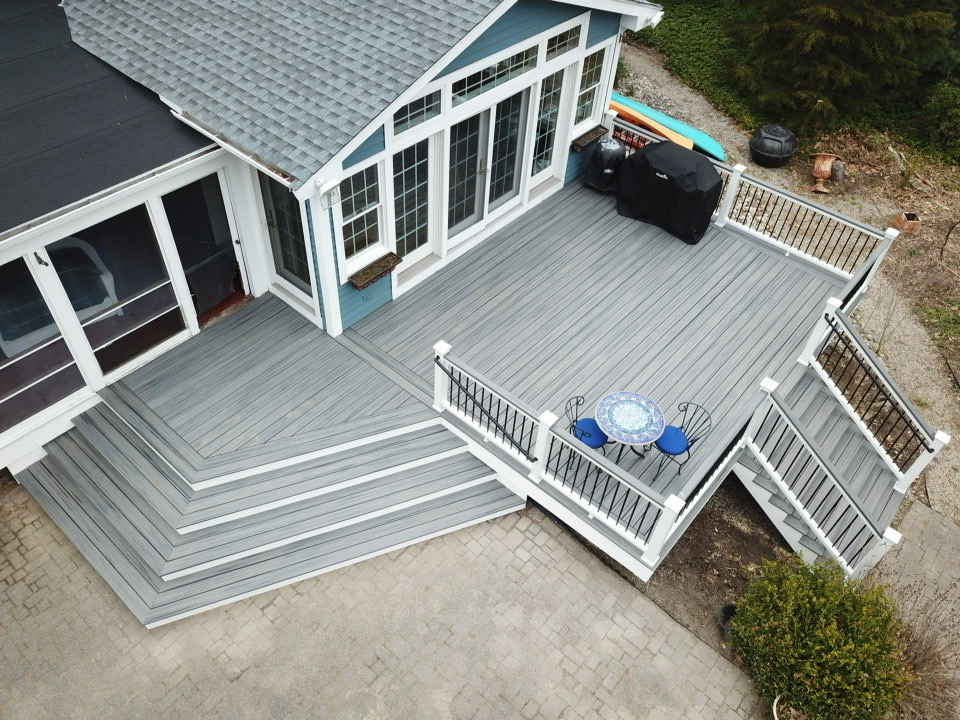Corner View of Trex Island Mist Composite Deck